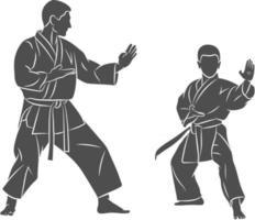 Entraîneur de silhouette avec un jeune garçon en karaté de formation de kimono sur une illustration vectorielle de fond blanc vecteur