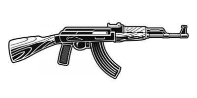 une illustration vectorielle en noir et blanc d'un fusil ak 47. vecteur