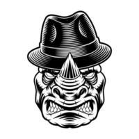 Vector illustration d'un rhinocéros au chapeau