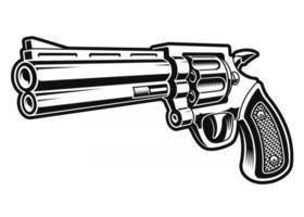 Une illustration vectorielle en noir et blanc d'un pistolet revolver vecteur