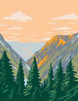 la nature sauvage de stephen mather située dans le parc national des cascades du nord et la zone de loisirs nationale du lac chelan dans l'état de washington wpa poster art vecteur