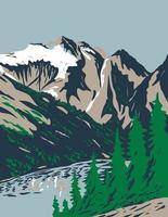 Sommet du mont Triomphe dans la chaîne des cascades situé dans le parc national des Cascades du Nord à Washington Wpa poster art vecteur