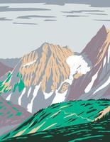 col de cascade ou col de skagit avec glacier béant au-dessus de la chaîne de cascade nord située dans le parc national des cascades du nord dans l'état de washington wpa poster art vecteur