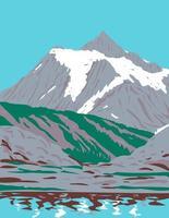 Le mont shuksan un massif glaciaire dans la chaîne des cascades situé dans le parc national des cascades du nord à Washington wpa poster art vecteur