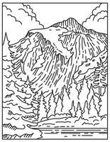 parc national des cascades du nord situé dans le nord de l'état de washington, états-unis, ligne mono ou dessin au trait noir et blanc monoline vecteur