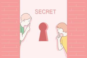 des gens se couvrant la bouche avec leurs doigts devant le trou de la serrure et racontant des secrets. illustrations de conception de vecteur de style dessinés à la main.