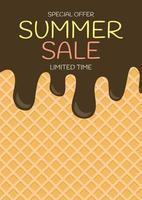 fond de vente d'été de crème glacée de texture de plaquette. illustration vectorielle vecteur