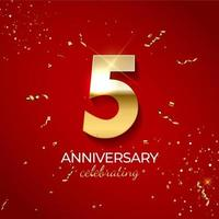 décoration de célébration d'anniversaire. nombre d'or 5 avec des confettis, des paillettes et des rubans de banderoles sur fond rouge. illustration vectorielle vecteur