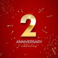 décoration de célébration d'anniversaire. nombre d'or 2 avec des confettis, des paillettes et des rubans de banderoles sur fond rouge. illustration vectorielle vecteur