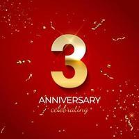 décoration de célébration d'anniversaire. nombre d'or 3 avec des confettis, des paillettes et des rubans de banderoles sur fond rouge. illustration vectorielle vecteur