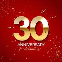 décoration de célébration d'anniversaire. nombre d'or 30 avec des confettis, des paillettes et des rubans de banderoles sur fond rouge. illustration vectorielle vecteur