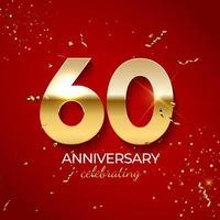 décoration de célébration d'anniversaire. nombre d'or 60 avec des confettis, des paillettes et des rubans de banderoles sur fond rouge. illustration vectorielle vecteur