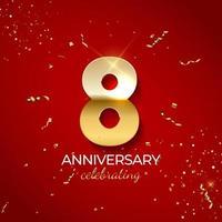 décoration de célébration d'anniversaire. nombre d'or 8 avec des confettis, des paillettes et des rubans de banderoles sur fond rouge. illustration vectorielle vecteur