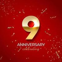décoration de célébration d'anniversaire. nombre d'or 9 avec des confettis, des paillettes et des rubans de banderoles sur fond rouge. illustration vectorielle vecteur