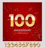 décoration de célébration d'anniversaire. nombre d'or 100 avec des confettis, des paillettes et des rubans de banderoles sur fond rouge. illustration vectorielle vecteur