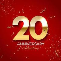 décoration de célébration d'anniversaire. nombre d'or 20 avec des confettis, des paillettes et des rubans de banderoles sur fond rouge. illustration vectorielle vecteur
