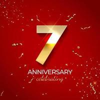 décoration de célébration d'anniversaire. nombre d'or 7 avec des confettis, des paillettes et des rubans de banderoles sur fond rouge. illustration vectorielle vecteur