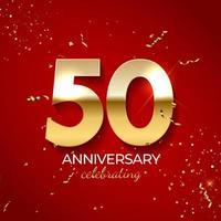 décoration de célébration d'anniversaire. nombre d'or 50 avec des confettis, des paillettes et des rubans de banderoles sur fond rouge. illustration vectorielle vecteur
