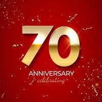 décoration de célébration d'anniversaire. nombre d'or 70 avec des confettis, des paillettes et des rubans de banderoles sur fond rouge. illustration vectorielle vecteur