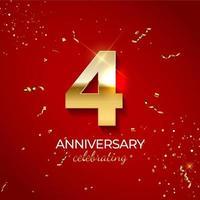 décoration de célébration d'anniversaire. nombre d'or 4 avec des confettis, des paillettes et des rubans de banderoles sur fond rouge. illustration vectorielle vecteur