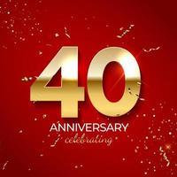 décoration de célébration d'anniversaire. nombre d'or 40 avec des confettis, des paillettes et des rubans de banderoles sur fond rouge. illustration vectorielle vecteur