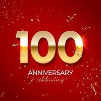 décoration de célébration d'anniversaire. nombre d'or 100 avec des confettis, des ballons, des paillettes et des rubans de banderoles sur fond rouge. illustration vectorielle vecteur