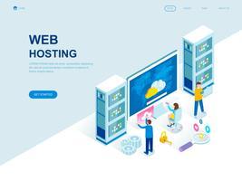 Concept isométrique de design plat moderne de l'hébergement Web