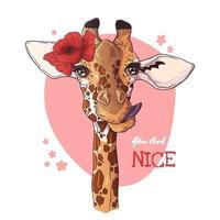 illustrations de croquis de vecteur. portrait de girafe avec coquelicot. vecteur