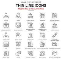 Thin line santé et médecine, jeu d'icônes de services