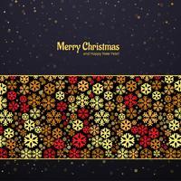 Belle carte avec motif de flocon de neige coloré joyeux Noël vecteur