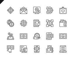 Ensemble simple de paiement associés icônes de ligne de vecteur