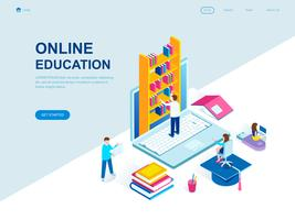 Concept isométrique d'éducation en ligne vecteur