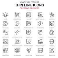 Thin line processus créatif et ensemble d'icônes de flux de travail projet vecteur