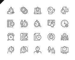 Ensemble simple d'icônes de lignes vectorielles liées à la gestion du temps