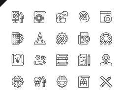 Ensemble simple d'icônes de lignes vectorielles liées à la conception technique