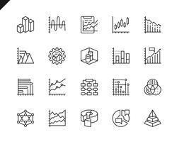 Ensemble simple de graphiques et de diagrammes icônes de lignes vectorielles connexes
