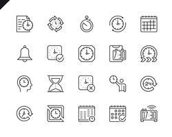 Ensemble simple de temps associés icônes de ligne de vecteur