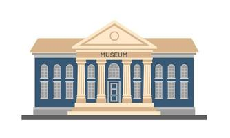 Vector plate illustration colorée à l'extérieur du bâtiment du musée avec titre et colonnes isolés sur fond blanc. architecture de la ville bâtiment du gouvernement public. musée d'art de la peinture moderne