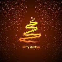 Joyeux Noël carte arbre avec vecteur de fond de paillettes
