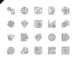 Ensemble simple d'icônes de lignes associées au traitement de données vecteur