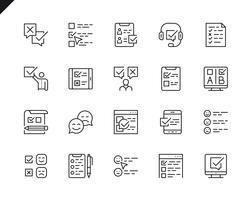 Ensemble simple d'icônes de ligne de vecteur connexes enquête