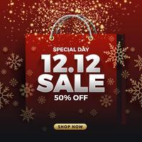 12.12 Fond de bannière de vente de magasinage jour. 12 décembre vente poste vecteur