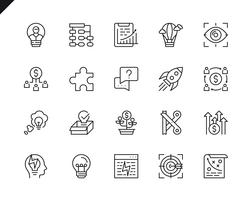 Ensemble simple d'icônes de ligne pour le démarrage d'affaires connexes