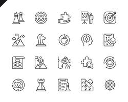 Ensemble simple d'icônes de ligne vecteur stratégie commerciale liée