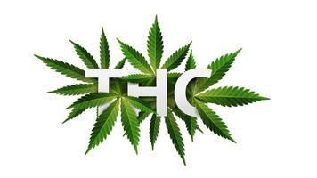 thc, logo, signe, symbole. Titre 3d décoré de feuilles de cannabis isolé sur fond blanc vecteur