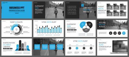 Modèles de diapositives de présentations commerciales d'infographie vecteur