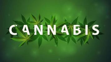 signe de cannabis, symbole. Titre 3d décoré de feuilles de cannabis vecteur