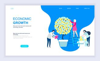 Concept de design plat moderne de croissance économique
