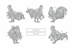 vecteur de mandala de coq. éléments décoratifs vintage. motif oriental, illustration vectorielle.