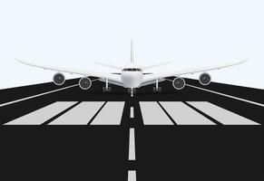 avion sur la piste de l'aéroport pour le décollage, illustration vectorielle vecteur